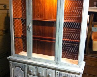 SOLD----------Off white and gray Shabby Chic distressed china hutch furniture
