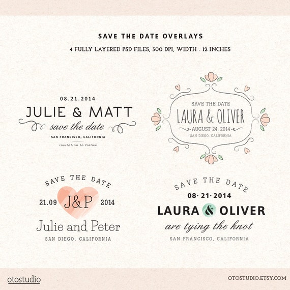Digital save the date overlays wedding photo card by otostudio for Electronic save the date templates