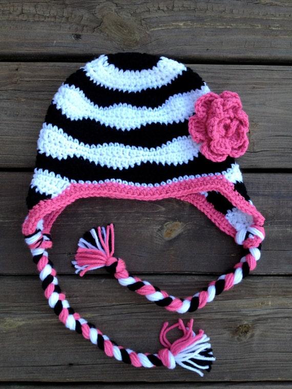 Free Zebra Stripe Crochet Pattern : Zebra striped crochet hat with flower earflaps by ...