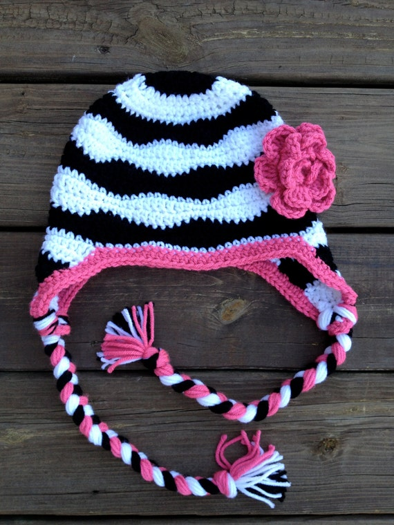 Crochet Zebra Hat : Zebra striped crochet hat with flower, earflaps, and braids, black ...