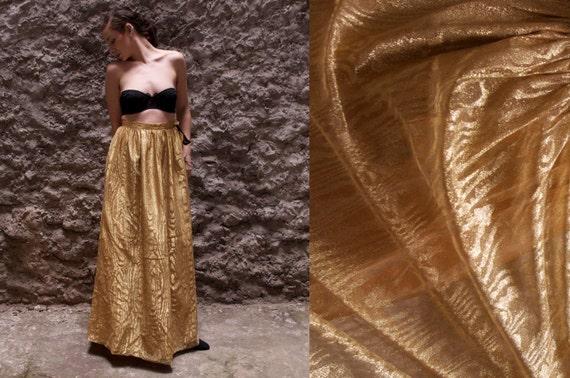 Vintage Lord & Taylor skirt Gold wood grain Maxi Skirt