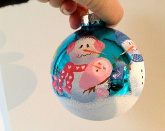 FREE SHIPPING! Family Christmas ornament. Baby's first Christmas ornament. Personalized ornament. Snowman ornament. Order by Dec 18 for XMAS