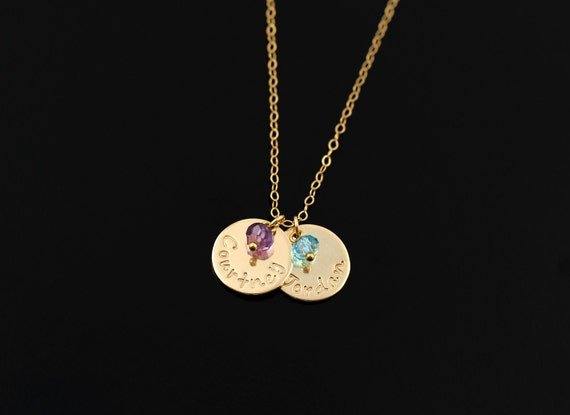 Mommy Necklace, Gold Name Pendant Necklace, Birthstone Charm & Personalized Name, Children Initials, Mother Daughter Set, Customized Charm
