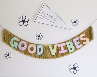 Good Vibes Glow in the Dark Fringe Banner | good vibes wall hanging, home decor, party decor, dorm room, photo prop, garland, neon, metallic