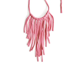 Pink Fringes Necklace/ Statement necklace / Fabric Necklace in Pink