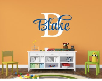 Personalized Monogram Kids Wall Decals - Boys Wall Decal -  Baby Boy Nursery Wall Decal - Name Vinyl Lettering