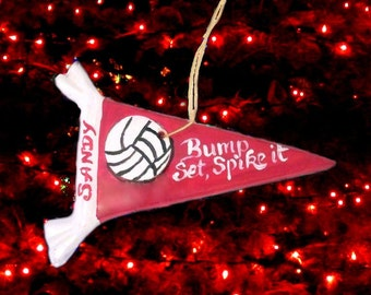 Christmas Sports Ceramic Volleyball Ornament Personalized