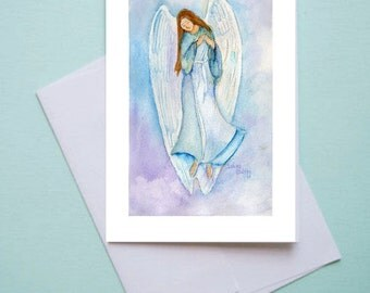 watercolor blue angel religious art notecards