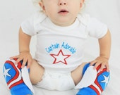 Captain America Baby Halloween Costume Infant Bodysuit and Leg Warmers with Wings, Halloween Costume, Dress Up