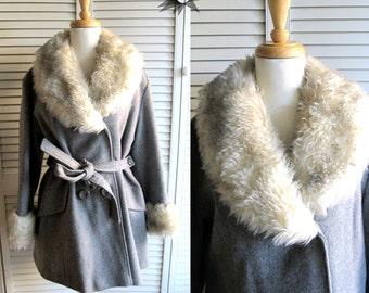 Vintage 1970's Sears Faux Fur Collar and Cuff Wool Belted Pea Coat Size Md/Lg