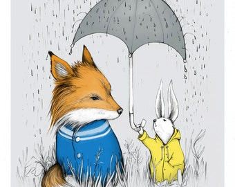 Seek No Return- Print - Fox - Bunny Rabbit - Friendship - Umbrella - Rain - Kindness