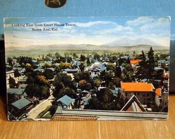 Vintage Postcard, Court House Tower, Santa Ana, California 1910s Paper Ephemera