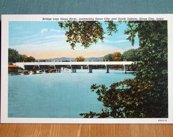Vintage Postcard, Sioux River, Sioux City, Iowa, 1920s Paper Ephemera