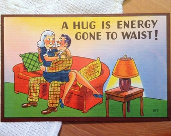 Vintage Comic Postcard, Retro Couple Cartoon Card - 1940s Linen Paper Ephemera