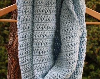 23. Crochet Infinity Scarf: Light Blue