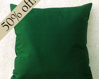 "Bottle Green Silk Dupioni Pillow Cover 15 x 15  - ""HALF PRICE SALE""  - s18F"