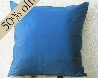 "Indigo Silk Dupioni Pillow Cover 15 x 15  - ""HALF PRICE SALE"" - s21F"