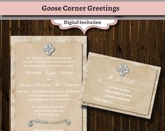 Rustic Lace Wedding Invitation Suite-Luxe- Printable-Brooch-Kraft Paper-Bridal shower-Baby Shower-DIY-Vintage luxe