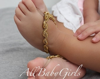 Gold Baby Sandals, Baby Shoes, Barefoot Sandals, Wedding Sandals, Sandals For Babies, Sandals for Newborn