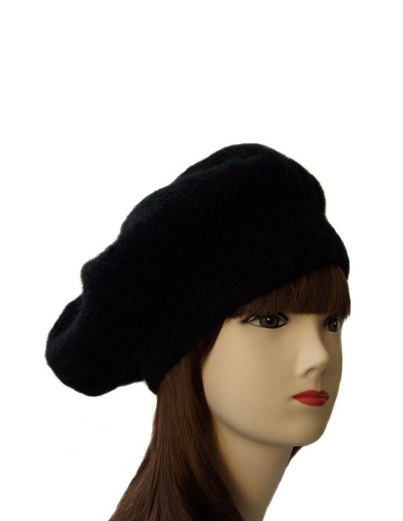 womens knit beret knit hat black hat knitted wool by