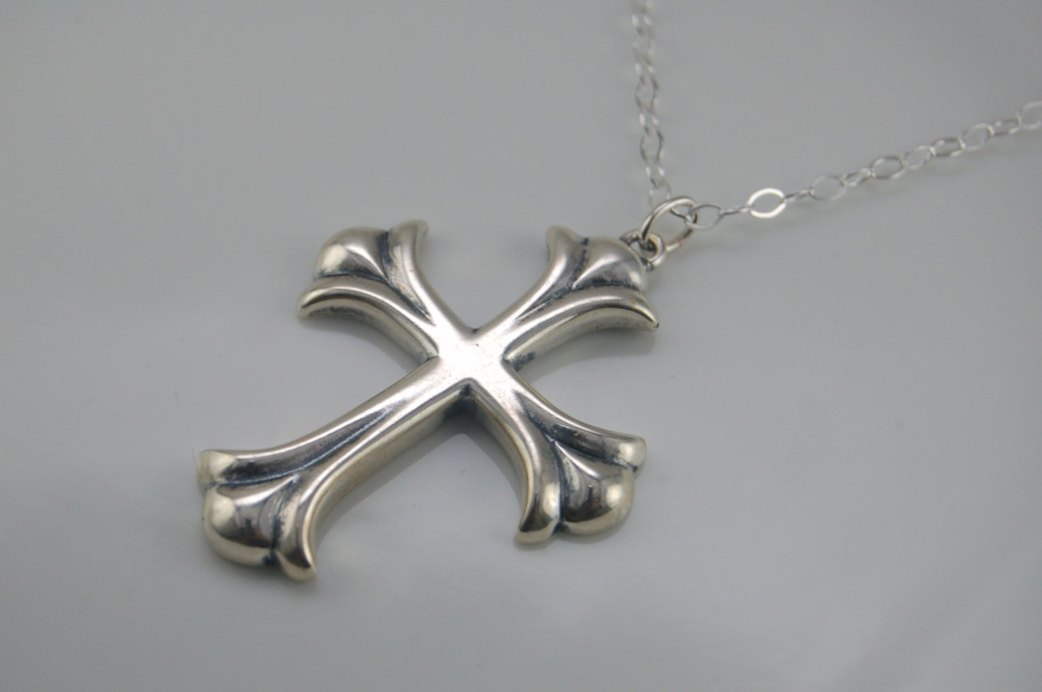 cross pendant mens cross necklace sterling silver by. Black Bedroom Furniture Sets. Home Design Ideas