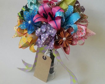Paper Anniversary Gift Origami Bouquet Tulip Lily Daisy Colourful Alternative Paper Flowers Mother's Day