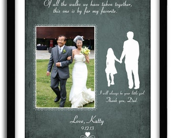Wedding Gift for Father of the Bride, Personalized Wedding Thank You Gift, Of all the walks, Wedding Poem, Custom Print with Photo