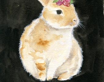Bunny Art - Watercolor Painting Print - Dainty Bess - Nursery Art - Nursery Watercolor Painting - Girl Nursery