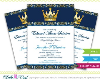 Personalized King Royal Baby Shower, Gold Crown Royal Baby Shower Printable DIY party invitation ...