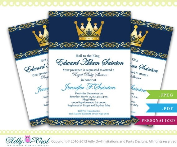Personalized King Prince Royal Baby Shower By
