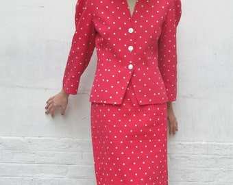 Guy LAROCHE Boutique 80s summer suit/ jacket & pencil skirt polka dot red white waffled cotton sz 42