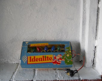 Box of Seven Working Idealite Christmas Lights in Box, IOB Vintage