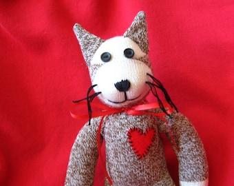 "Rockford Red Heel Sock Monkey Cat  with Heart 14"" Handmade"