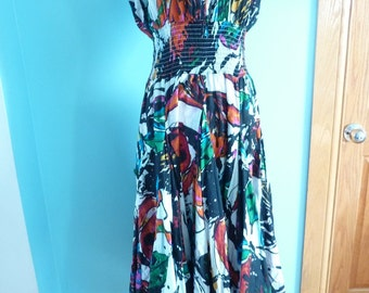 "Vintage Abstract short sleeve sundress size ""L"""