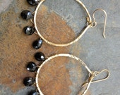 Black Spinel Earrings, Hand Hammered Hoops, Nu Gold, Red Brass, Natural Gemstone, Statement, Bohemian, Boho, Gypsy