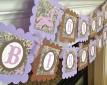 Max 4 Camo Duck Dynasty Inspired Happy Birthday Banner - Max 4 Camo background - Purple & Brown - Party Packs Available