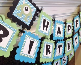 Monster Inc Birthday Banner - Lime Green Chevron Blue Polka Dots with Black accents - Party Pack Specials Available