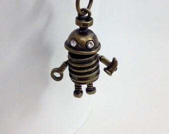 Antique Bronze Metal Robot Key Chain Bag Charm KC13