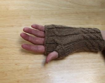 Tan Fingerless Gloves, Gauntlets, Wrist Warmers