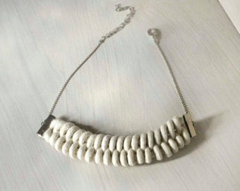 minimalist knitted rope necklace.