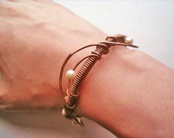 Bracelet Wire Wrapped Jewelry Handmade Bracelet Hammered Copper Wire Wrap Bracelet - wire wrapped jewelry handmade