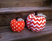 Chevron & Polka Dot Fabric Pumpkin - TheTealTree