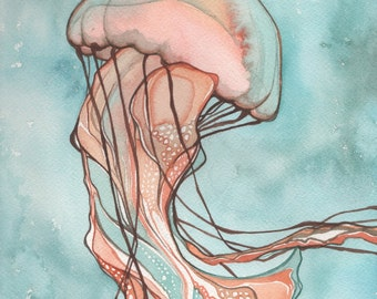 Pink Sea Nettle JELLYFISH 5 x 7 print of detailed watercolour in turquoise orange salmon earth tones, whimsical cotton candy fairytale