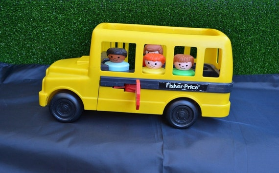 vintage 1991 fisher price chunky little people school bus with. Black Bedroom Furniture Sets. Home Design Ideas