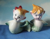 RESERVED FOR Elizabeth Bostick. Boy Girl Mermaid Salt and Pepper Shakers- Napco Miyao Japan  - Long Time no He / She