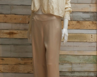 Chanel satin cream palazzo pants, new with labels. size L