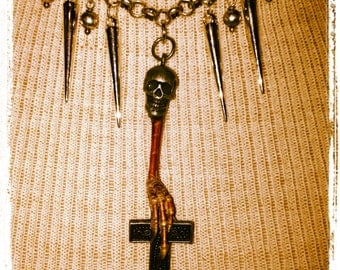 Skull and Real Bird claw spiked necklace