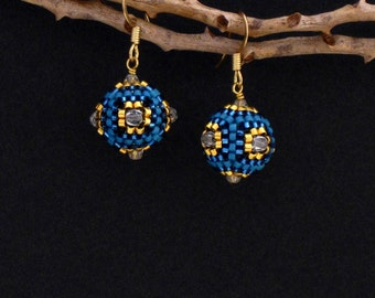 Beaded Ball Earrings, Aqua, Turquoise Blue and Gold, Czech Crystal