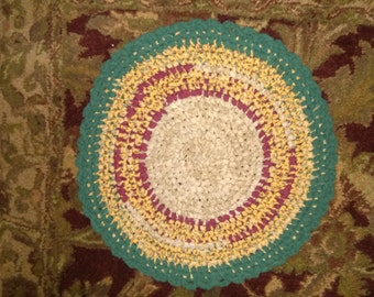 Hand Knotted Rag Rug -  yellow and green