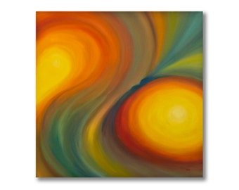 Abstract Swirling Rainbow Mermaid Painting, Original Oil on Canvas, Colorful wall art with yellow, orange, red, green, blue, Size 24 x 24